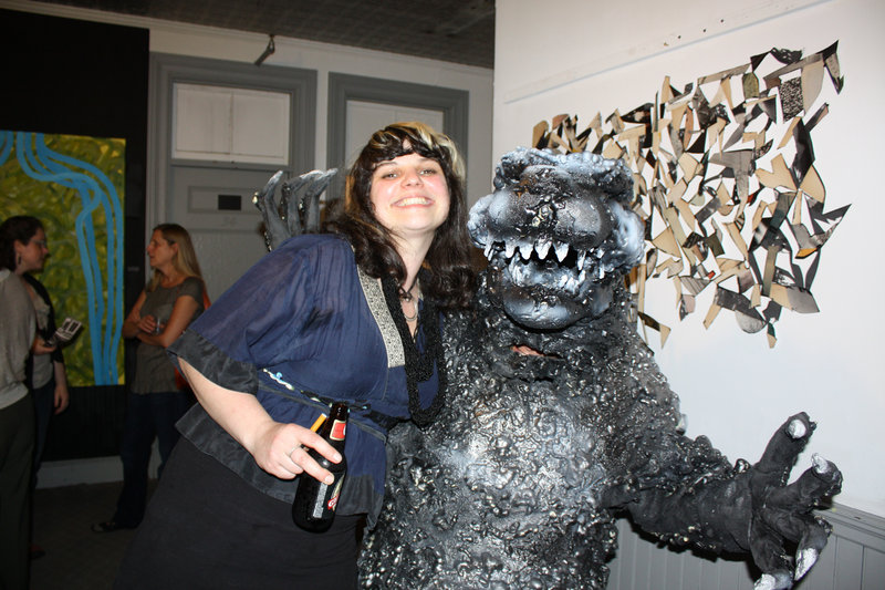 Lisa Pixley, who heads the Pickwick Indpendent Press, and Godzilla.