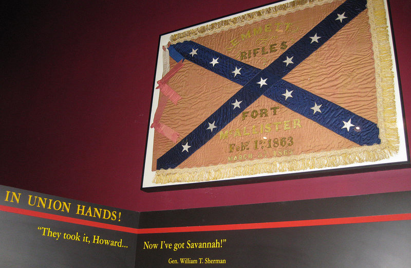 A Confederate flag hangs at Fort McAllister state park in Richmond, Ga. Robert Clayton of Islesboro gave the flag to the park, honoring the request of his great-grandfather, who captured the flag in 1864 when Union forces took the fort.