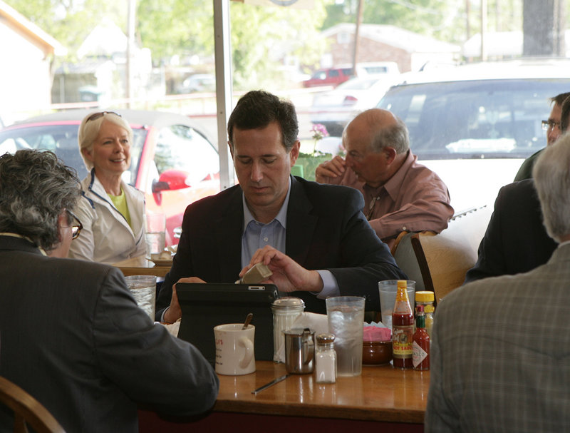Rick Santorum ate with the locals at Lea's of LeCompte restaurant in Monroe, La., on Friday.