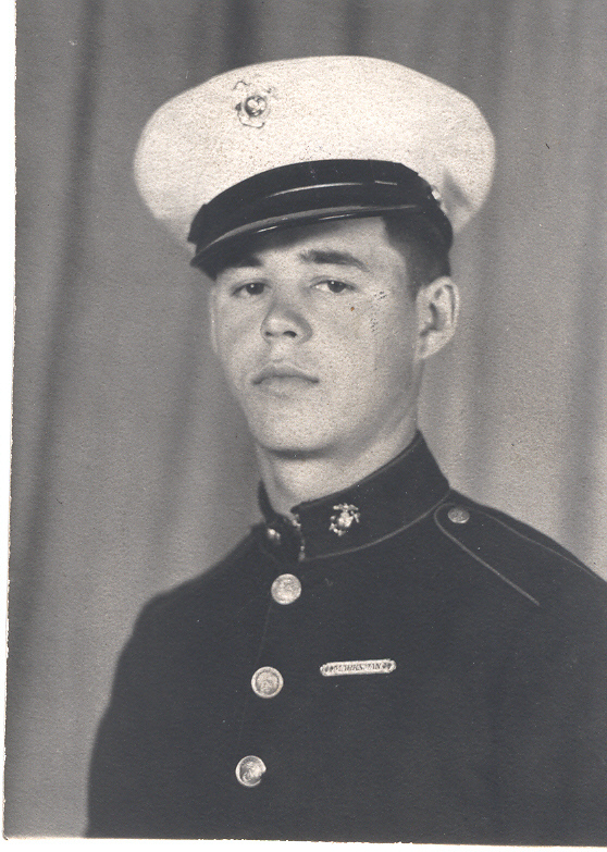 "John P. Malick, shown wearing his ""blues"" at age 19, was proud of serving his country as a Marine, his wife said."