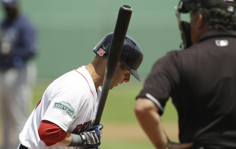 Dustin Pedroia, batting third in what may be the opening-day lineup for the Boston Red Sox, tripled in a run Tuesday. Manager Bobby Valentine had Pedroia batting in back of Mike Aviles and Jacoby Ellsbury.