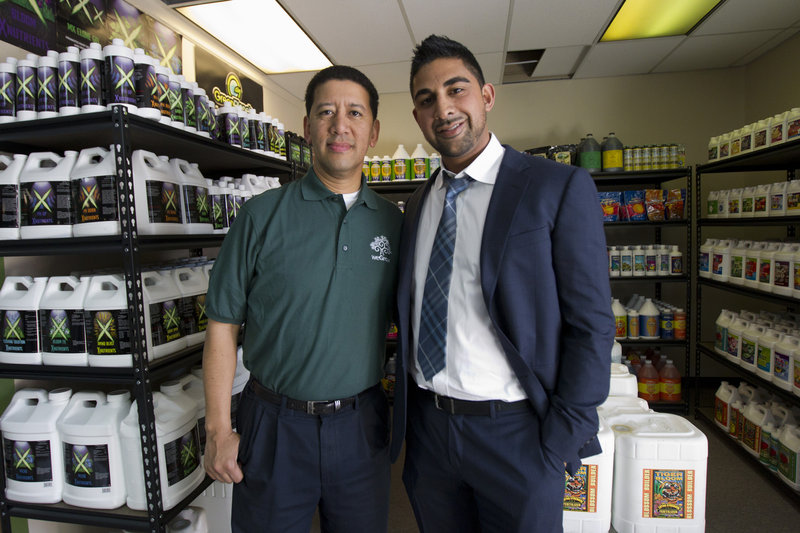WeGrow founder Dhar Mann, right, and franchisee Alex Wong were at Wong's weGrow store in Washington, D.C., on Thursday to prepare for today's opening. It's the California company's first outlet on the East Coast.