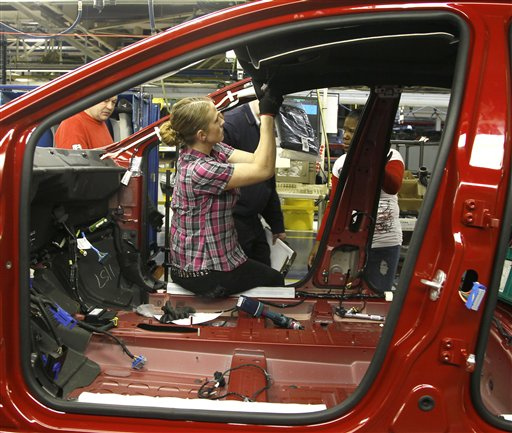 In this Feb. 2, 2012, photo, an auto worker assembles parts on the 2013 Dodge Dart at the Chrysler Plant in Belvidere, Ill., where Chrysler has added a third shift to keep up with demand.