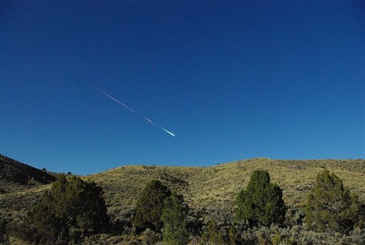 This image provided by NASA shows a meteor over Reno Nevada on that entered Earth's atmosphere around 8 a.m. PDT. Bill Cooke of the Meteoroid Environments Office at NASA's Marshall Space Flight Center in Huntsville, Ala., estimates the object was about the size of a minivan, weighing around 154,300 pounds (70 metric tons) and at the time of disintegration released energy equivalent to a 5-kiloton explosion.