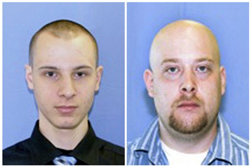 Undated photos provided by the Pittsburgh police show armored car guards Kenneth Konias Jr., left, and his partner, Michael Haines, whom Konias is charged with murdering.
