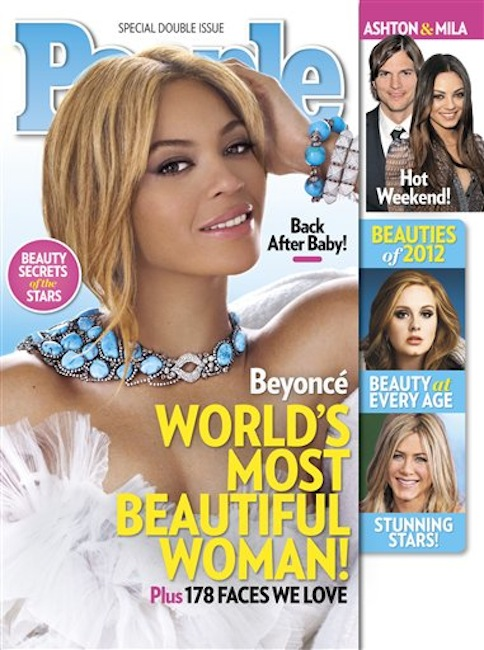 In this cover image released by People, singer Beyonce graces the cover of People magazine's special issue naming her the World's Most Beautiful Woman for 2012. The 30-year-old singer tops the magazine's annual list of the