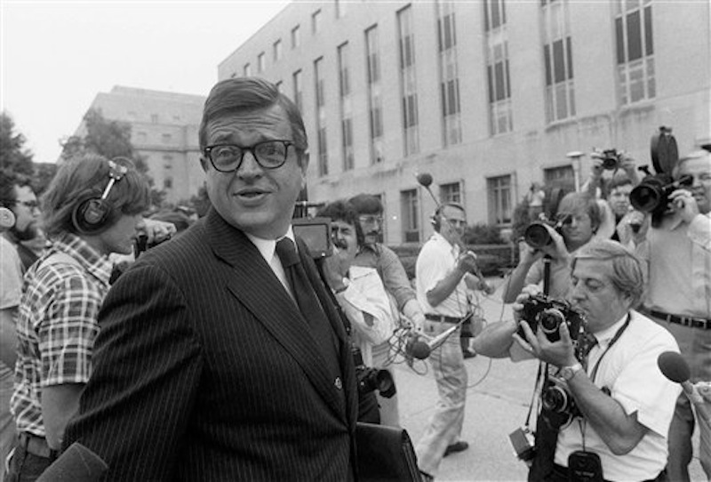 In this June 21, 1974 file photo, former Nixon White House aide Charles W. Colson arrives at U.S. District Court in Washington to be sentenced for obstructing justice. Colson, the tough-as-nails special counsel to President Richard Nixon who went to prison for his role in a Watergate-related case and became a Christian evangelical helping inmates, has died. He was 80. Jim Liske, chief executive of the Lansdowne-based Prison Fellowship Ministries that Colson founded, said Colson died Saturday, April 21, 2012. (AP Photo/Bob Daugherty)