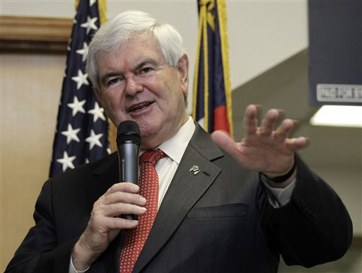 Republican presidential candidate Newt Gingrich speaks in Cramerton, N.C., today.