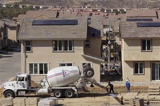 New single-family homes are under construction recently in a development in Santa Clarita, Calif.