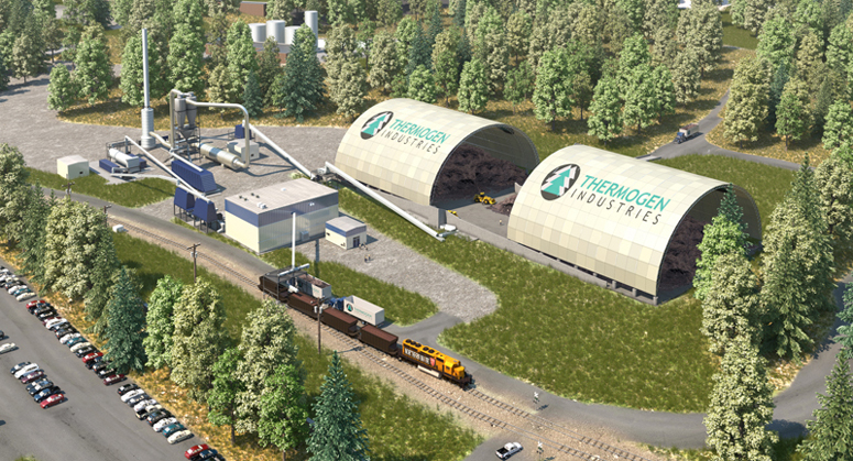 An artist's conception of a $35 million wood manufacturing machine that Cate Street Capital wants to build at the site of the former Millinocket paper mill.