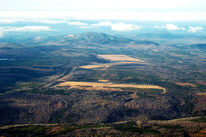 Aerial view looking north at the 1,500-acre site of the former Over-the-Horizon-Backscatter radar system in Moscow.
