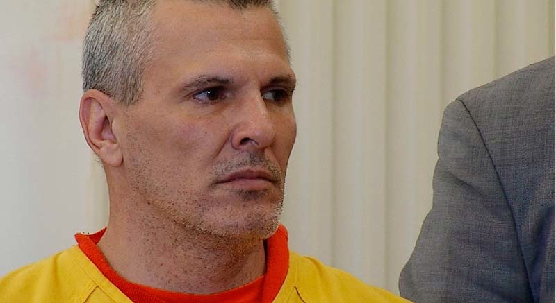 Michael Swenson, who is charged with fatally stabbing Roger White behind an Old Orchard Beach bar last weekend, makes his initial appearance in York County Superior Court on Wednesday, April 25, 2012.