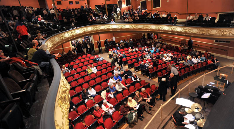 BACK IN BUSINESS: Theatergoers fill the newly renovated Waterville Opera House on Friday night for its grand reopening.