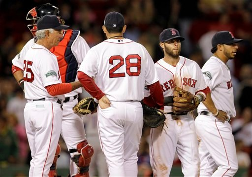 Boston Red Sox manager Bobby Valentine, left, talks on the mound with first baseman Adrian Gonzalez, 28, second baseman Dustin Pedroia and shortstop Mike Aviles, far right, during a pitching change in the eighth inning at Fenway Park in Boston on Tuesday.