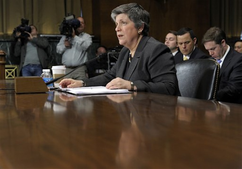 Homeland Security Secretary Janet Napolitano testifies on Capitol Hill in Washington, Wednesday, April 25, 2012, before the Senate Judiciary Committee hearing on the Secret Service prostitution scandal that embarrassed the White House and overshadowed the president's visit to a Latin American summit. (AP Photo/Susan Walsh)