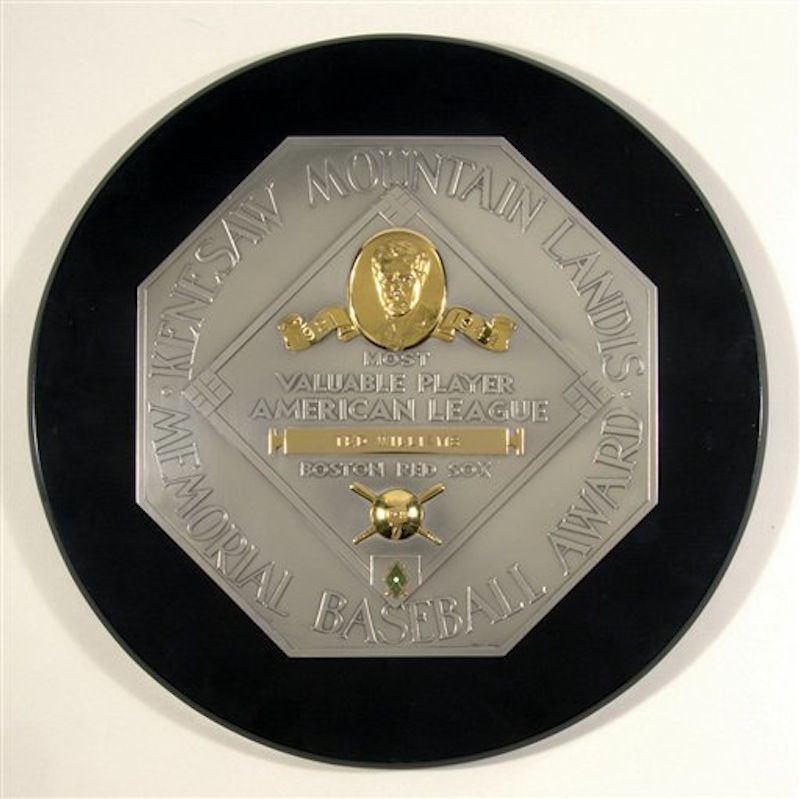 This undated photo provided by Hunt Auctions shows Boston Red Sox great Ted Williams' 1949 MVP plaque, which sold for nearly $300,000 during an auction of Williams' sports, military and personal memorabilia, Saturday, April 28, 2012, in Boston. (AP Photo/Hunt Auctions)