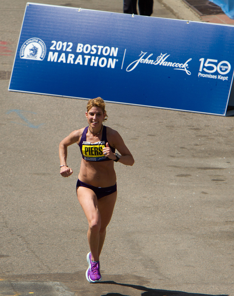Sheri Piers, 40, Maine, crosses finish line at 2012 Boston Marathon in 10th place marathon