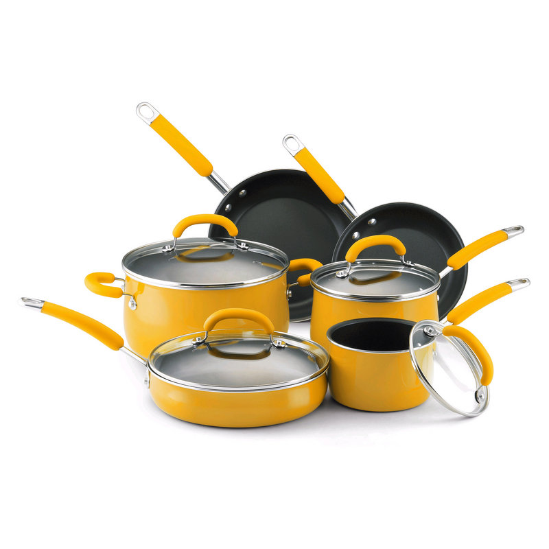The Rachael Ray porcelain enamel 10-piece cookware set from Wayfair.