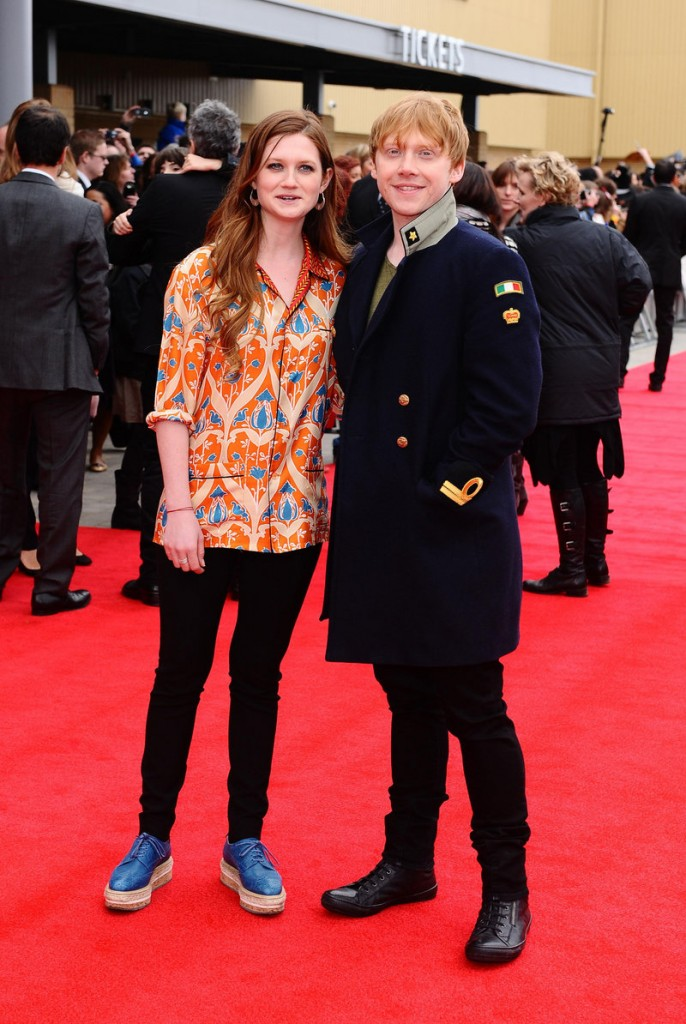 "Bonnie Wright and Rupert Grint arrive at the grand opening of the Warner Brothers studio tour ""The Making of Harry Potter,"" at the Leavesdon Studios in London on Saturday. The studio tour is nirvana for Harry Potter fans and for film geeks, who can watch designers talk about their work in short films, ride a broomstick in the green-screen effects room and see how makeup, prosthetics and animatronics brought hundreds of magical creatures to life in the Harry Potter movies."
