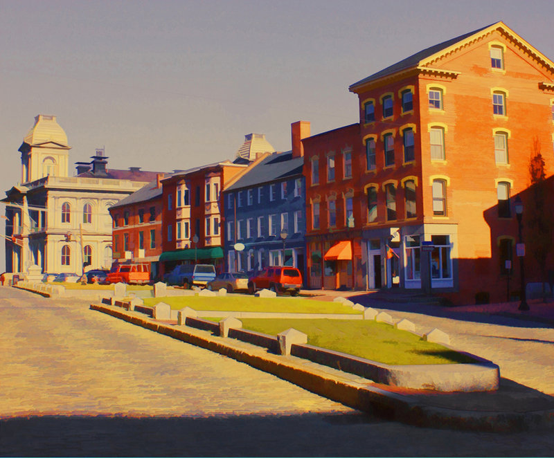 """Boothby's Square at Fore and Silver Street,"" by Clyde McCulley."