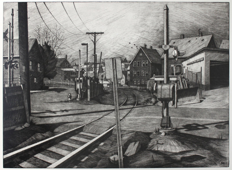 """""""Maplewood,"""" etching and aquatint by Sean Hurley."""