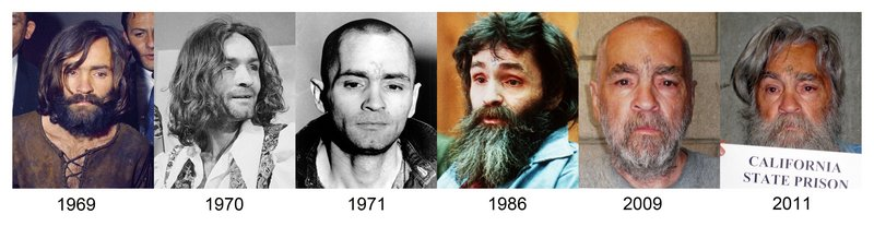 These combined file photographs show how Charles Manson has looked over the years from 1969 up to the most recently released photo in 2011.