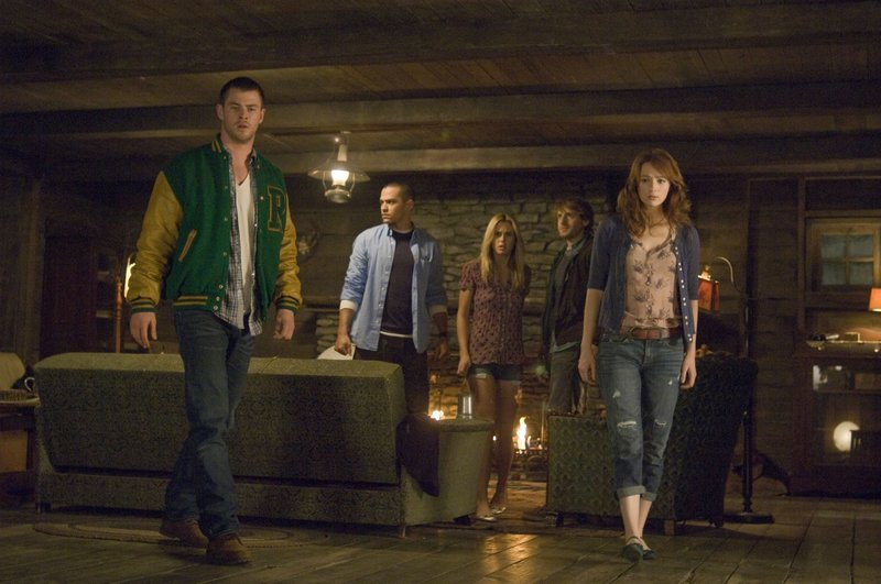 """From left, Chris Hemsworth, Jesse Williams, Anna Hutchison, Fran Kranz and Kristen Connolly in """"The Cabin in the Woods."""""""