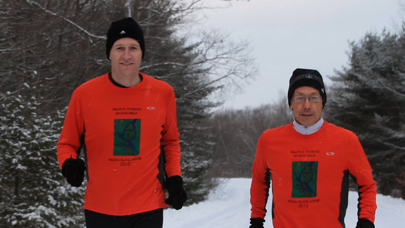 Bob Bryant, left, the police chief of Indian Island, and Dale Lolar, a substance abuse counselor, are part of a team – along with former Penobscot Nation tribal chief Barry Dana – that is running the Boston Marathon to raise money for Penobscot River cleanup.