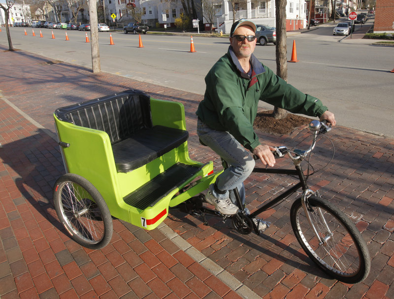 James Fereira of Maine Pedicab was outside Hadlock Field this past weekend, looking to drive folks home or back to their cars after the Sea Dogs baseball games.