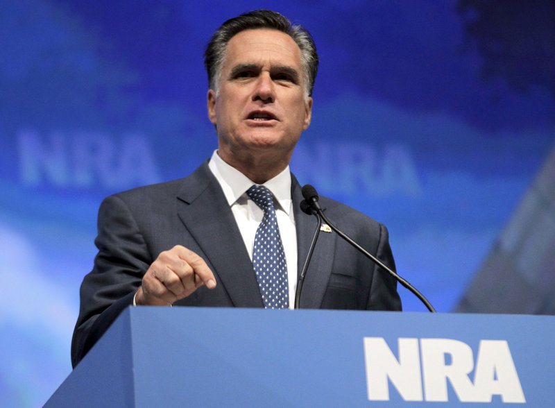 Republican presidential candidate Mitt Romney speaks at the NRA convention Friday. He warned that Obama would remake the Supreme Court if he's re-elected.