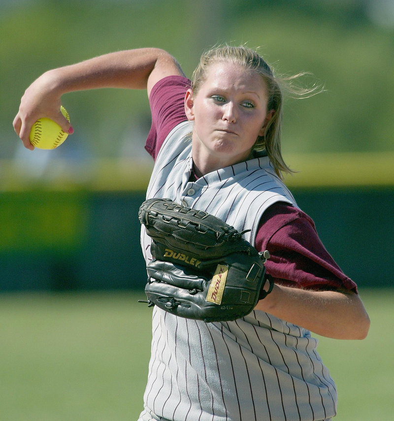 Noble High School's Brittany Tibbetts fires a pitch in a playoff game in Brewer in this June 16, 2003, photo. Tibbetts was named the 2004 Maine Gatorade Player of the Year. Friends and family remembered her as a talented athlete, and later, as being skilled at her chosen profession, cosmetology.