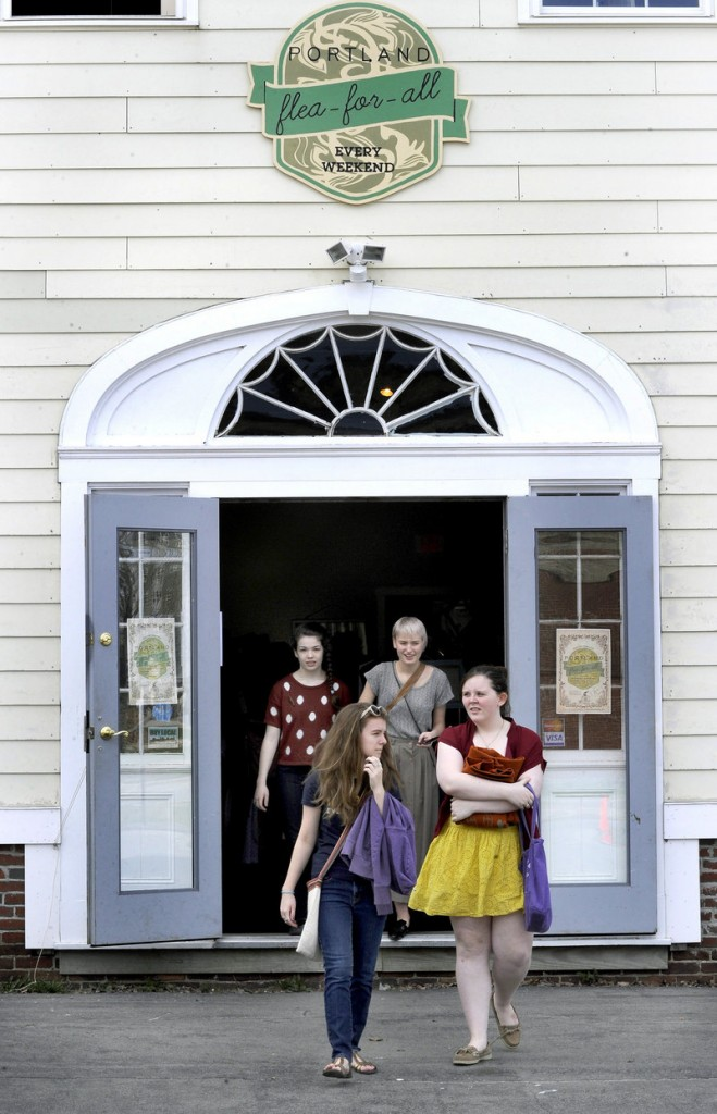 Morrigan Turner, Gaby Ferrell, Sydra Muse and Hannah Johnston, all of South Portland, were among shoppers at the new Flea-for-All in Portland on Saturday.