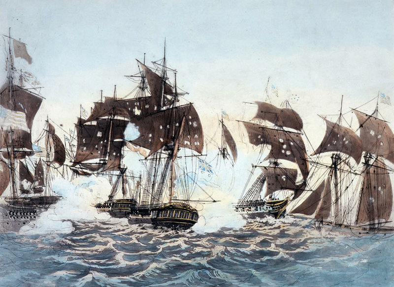 Commodore Oliver Hazard Perry's defeat of a British fleet on Lake Erie during the War of 1812, as depicted in this painting, is one of the triumphs that the Navy will commemorate this year as it tries to immerse the public in information.