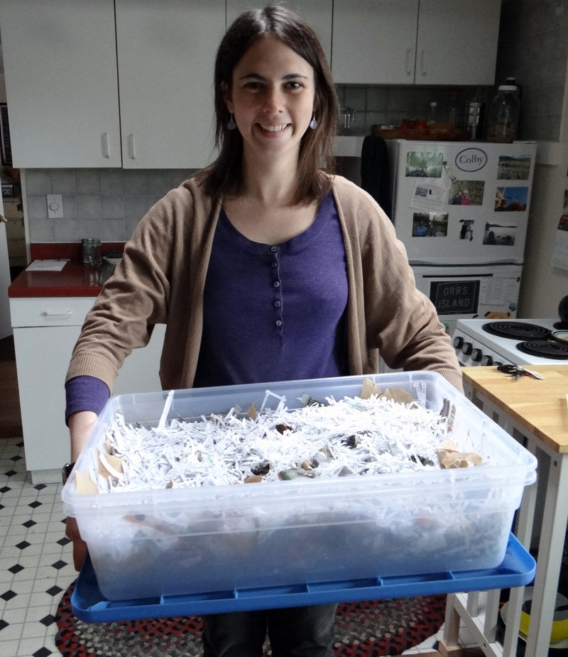 Emmie Theberge of Augusta uses worm composting to recycle food scraps in her small apartment kitchen. The compost created can go in a garden.