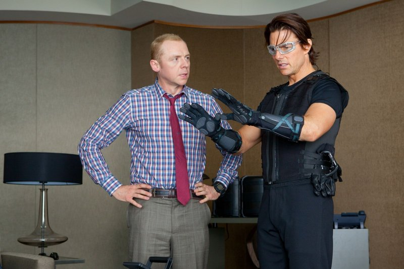 "Simon Pegg, left, and Tom Cruise in ""Mission Impossible: Ghost Protocol."""