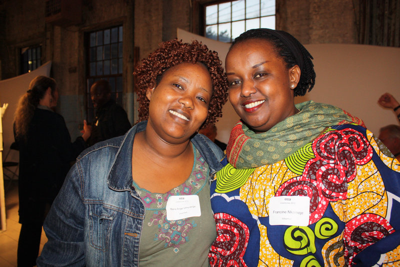 Volunteers Marie Ange Umurange and Francine Nkomeje.
