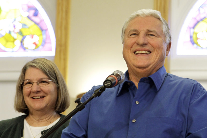 Patricia and Merle Butler of Red Bud, Ill., appear at a news conference Wednesday in Red Bud. The retired couple has claimed the third and final share of last month's record $656 million Mega Millions jackpot.