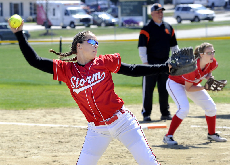 Erin Giles delivers a pitch during Scarborough's 13-0 win Thursday against Biddeford. Giles and Mo Hannan combined on a one-hitter in a game stopped in the fifth inning because of the 12-run mercy rule.