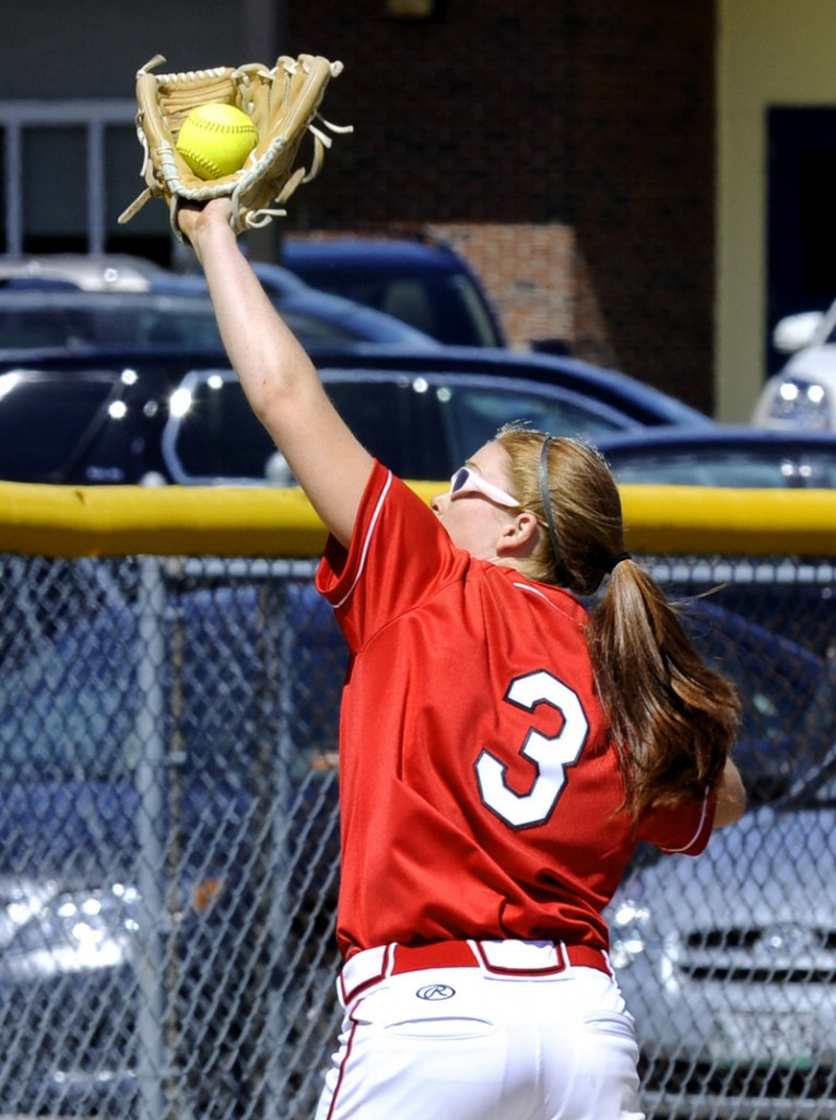 Mo Hannan of Scarborough makes a backhand catch on a popup. Hannan drove in four runs and got plenty of help from a lineup that produced 11 hits in four innings.