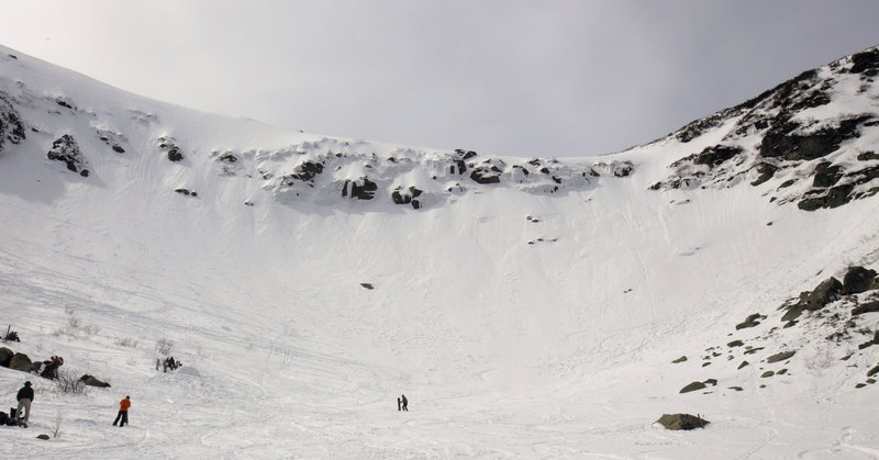 Tuckerman Ravine on Mt. Washington has been relatively uncrowded this spring despite a late blast of snow that produced above-average conditions. The Tuckerman Inferno race Saturday had an altered course because of conditions.