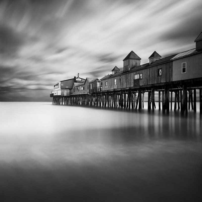 Moe Chen's view of the pier at Old Orchard Beach won the black-and-white division.