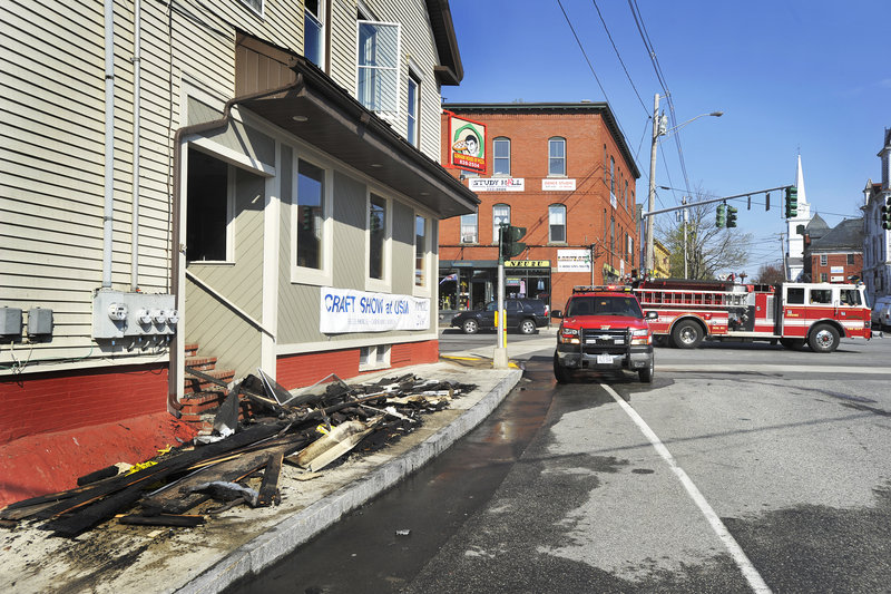 A fire Thursday at the Gorham House of Pizza building in downtown Gorham, which started in a second-floor bathroom fan, severely damaged two second-floor apartments and the roof of the building, but largely spared the first- floor restaurant.