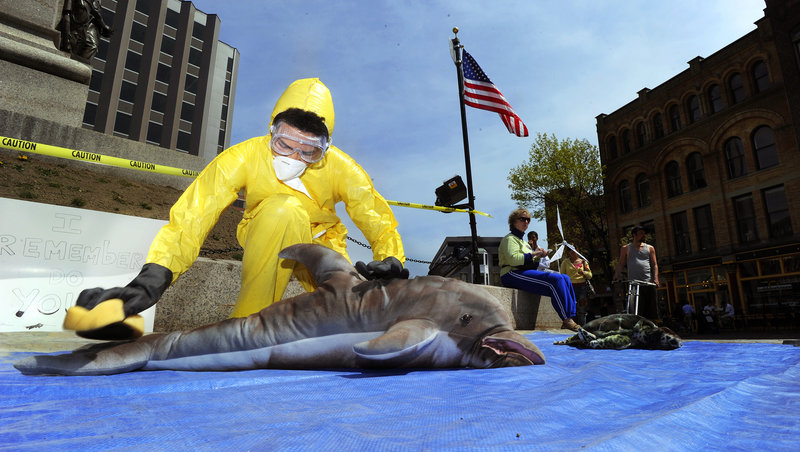 Salem Harry, a student at Bowdoin College in Brunswick and native of South Padre Island, Texas, pretends to scrub oil off a stuffed animal dolphin during a mock oil spill Friday to mark the two-year anniversary of the BP oil spill.