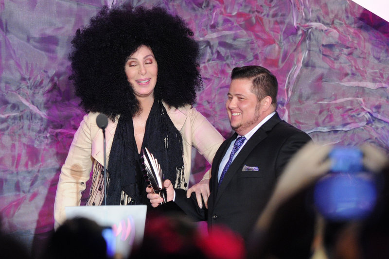 Cher greets her transgender son, Chaz Bono, at the 23rd annual GLAAD Media Awards on Saturday in Los Angeles, where he picked up a pair of trophies.
