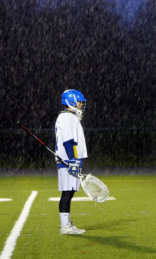Falmouth goalie Connor Jordan was mostly a spectator in the driving rain in the first half against Greely, as his teammates scored the game's first 11 goals.