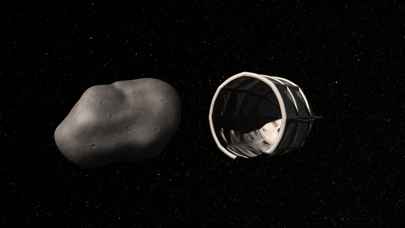 A conceptual rendering of a spacecraft about to capture a water-rich, near-Earth asteroid.