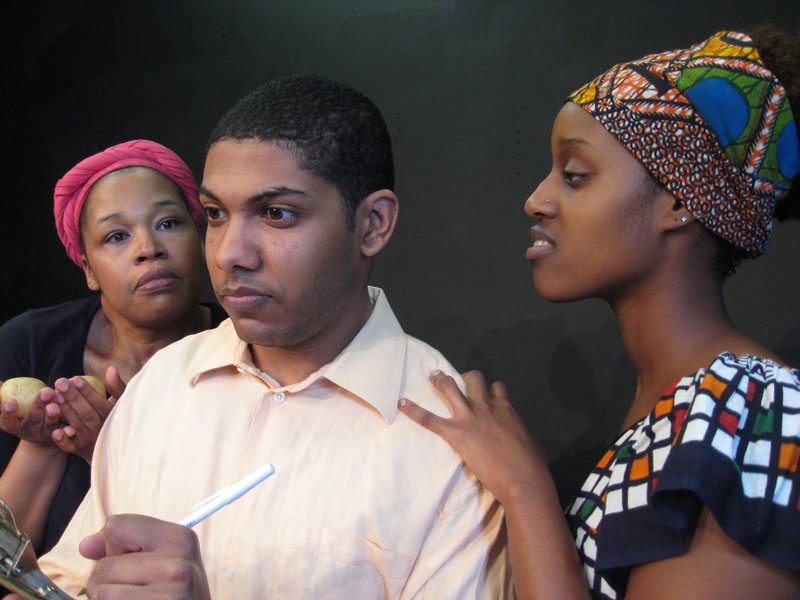 "From right, Evadne Bryan-Perkins, Michael Johnson and Gwira Kabirigi in ""Potatoes Aren't Enough,"" by Delvyn Case, part of the lineup in Acorn Productions' The Maine Playwrights Festival, continuing this weekend at the St. Lawrence Arts Center in Portland."