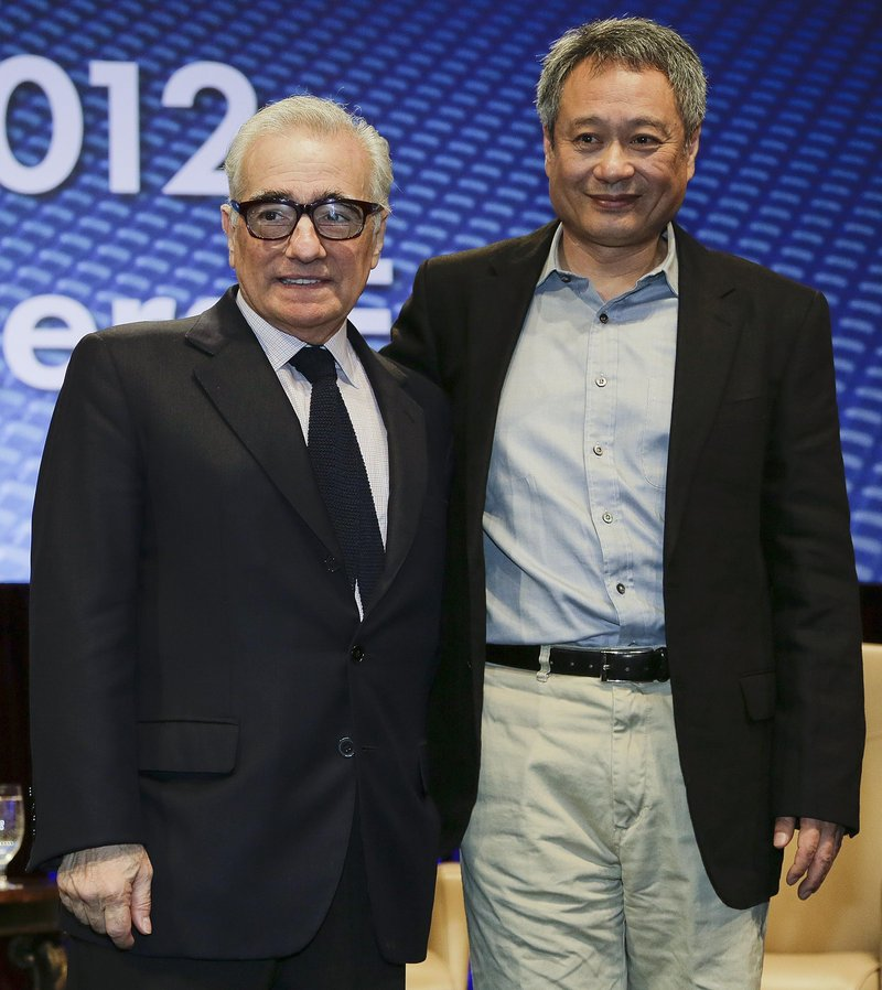 Filmmakers Martin Scorsese, left, and Ang Lee at the CinemaCon convention, Wednesday in Las Vegas. Both see 3-D as the future of motion pictures.