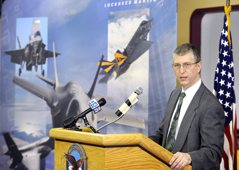 Pratt & Whitney General Manager Michael Papp addresses employees and guests Friday during a visit by the company's partner on the F-35 project, Lockheed Martin. He said the his plant expects to add some 400 jobs over the next four years.