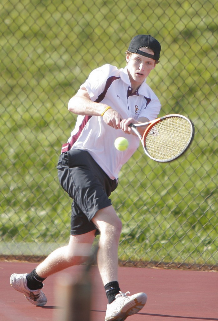 Eli Breed and his doubles partner, Sam Sherman, earned one of the two points for Cape Elizabeth with a 6-4, 6-4 victory.